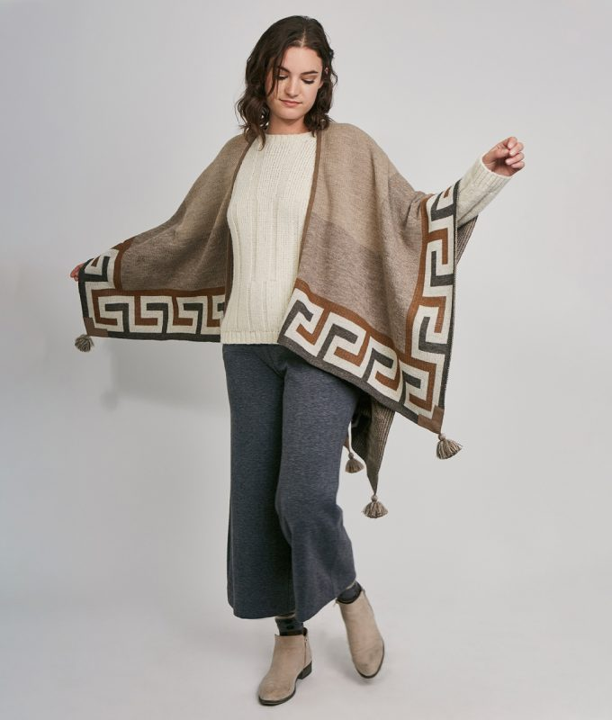Woman wearing Iris Baby Alpaca Cape by Pacalpa