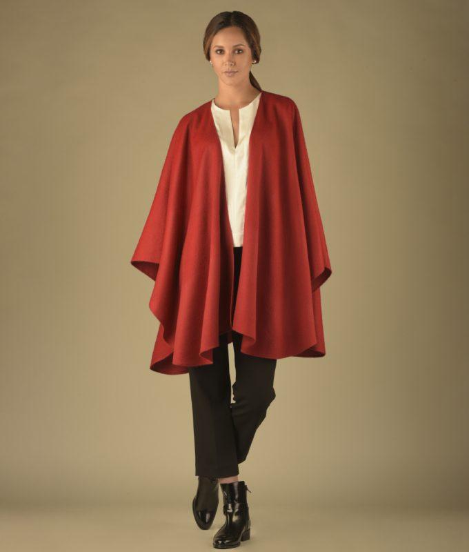 Woman wearing Red Clasica Baby Alpaca Ruana by Pacalpa