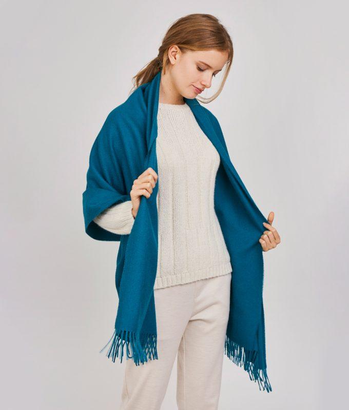Woman wearing Blue Radical Baby Alpaca Shawl by Pacalpa
